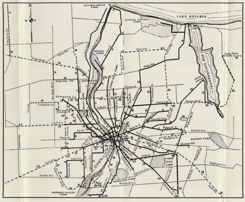 Rochester Streetcar map - 1920s