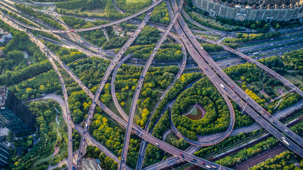 curved flyovers and multi lane highways in Shanghai